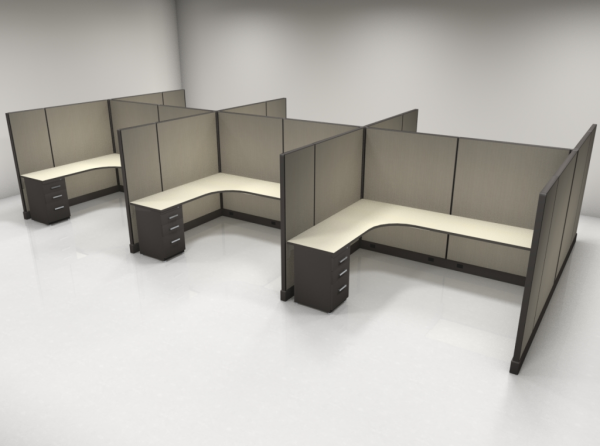 "67"" High Cubicles 6×8, 1 File"