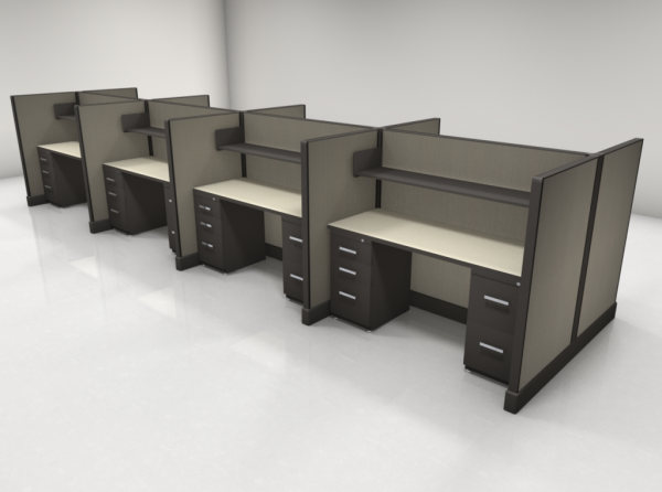 Call Center Cubicles 53″ High Two Files, One Shelf