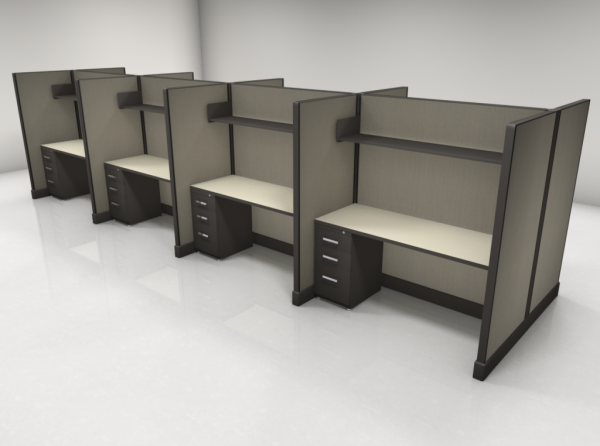 Call Center Cubicles 67″ High One File, One Shelf