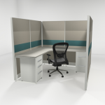6X6 67″ Tiled Cubicles with One File